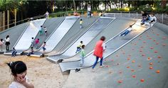 kids play outdoor hill slides big climb challenge fun metal