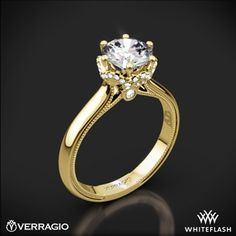 14k Yellow Gold Verragio Classic 939R7 Solitaire Engagement Ring
