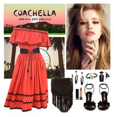 """""""Peasant Dress for Coachella 2017"""" by whims-and-craze ❤ liked on Polyvore featuring Été Swim, Yves Saint Laurent, Sophia Webster, Frye, Gucci and Victoria's Secret"""