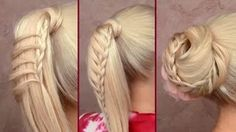 Cute back to school hairstyles tutorial Braided ponytail Easy top knot updo for long hair 2012, via YouTube.