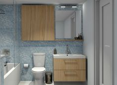 nice blue bathroom with inexpensive IKEA cabinets. If I reverse this I don't have to rip out the old cabinet