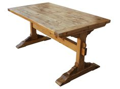 Santa Barbara Dining Trestle Table Built in Reclaimed Lumber: Shown as Rough Hewn, Light Brown Wax, Natural Finish. All options fully customizable.