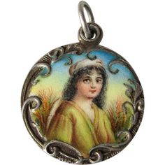 French Enamel Portrait Slide Antique Victorian Locket Pendant Charm