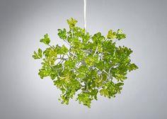 Hanging chandeliers. Green flowers.. $110.00, via Etsy.
