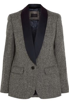 Gray wool-tweed Button fastening at front 100% wool; trim: 100% polyester Dry clean