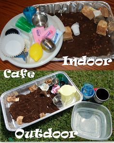 Indoor/Outdoor Cafe (sensory play with coffee grounds and tea bags)