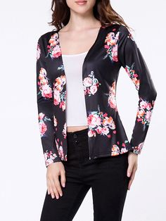 Collarless Floral Printed Cardigan Only $14.95 USD More info...