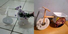 make a flower bike out of inexpensive items very cute Recycled Crafts, Diy Crafts, Cd Cases, Decorative Planters, Diy Recycle, Diy Scrapbook, Ideas Para, Diy Ideas, Craft Ideas