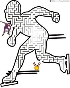 This speed skater maze is a terrific page to print for kids who love speed skating, even in the Olympics. Olympic Idea, Olympic Games, Winter Kids, Winter Sports, Olympic Crafts, Pe Ideas, 2018 Winter Olympics, Winter Activities, Winter Games