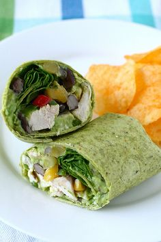 Yum :) roasted chicken wraps with black bean salsa and guac
