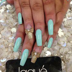 Nails by: Laque` Nail Bar Blue Gold Nails, French Nails Glitter, Nail Polish Art, Nail Art, Cute Nails, Pretty Nails, Hair And Nails, My Nails, Baby Shower Nails