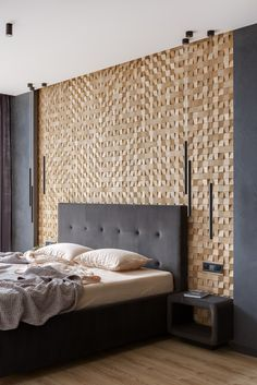 Wooden panels Mosaic Pixels in the interior project by @ kornienko_partners (ins. New Bedroom Design, Home Decor Bedroom, Bedroom Ideas, Interior Walls, Interior Design, Home Furniture, Furniture Design, Modern Apartment Decor, Wooden Wall Panels
