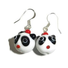 Panda Bear Lampwork Glass Dangle Earrings by CloudNineDesignz, $12.00