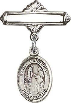 Sterling Silver Baby Badge with St Genevieve Charm and Polished Badge Pin -- Want to know more, click on the image.