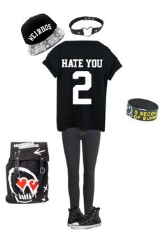 """Untitled #96"" by musicloverever ❤ liked on Polyvore featuring RADisRAD, J Brand and Converse"