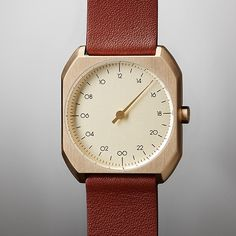 slow Mo 07 - Gold Swiss watch with stainless steel case and brown leather band   I want this watch so much!!!!