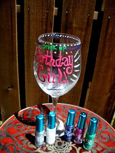 Preheat the oven to 400 and bake the glasses for 10 minutes to make paint permanent *nail polish must be dry first*