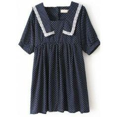 Navy Short Sleeve Cross Print Lace Pleated Dress