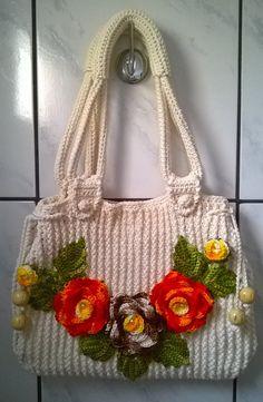 Large shoulder bag Summer satchel Embroidery by tapes Women's unusual handbag Girl's flower bag Casual comfortable handbag Ribbons Big pouch Free Crochet Bag, Crochet Tote, Crochet Handbags, Crochet Purses, Crochet Stitches, Crochet Patterns, Silk Ribbon Embroidery, Diy Embroidery, Lace Bag