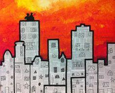 Skyline met Sint en Piet, groepswerk, BS de Vlier, 6B