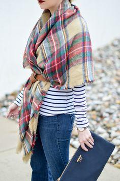 Belted plaid + stripes