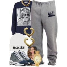 A fashion look from August 2013 featuring grey sweatpants, gold tone watches and yellow gold earrings. Browse and shop related looks.