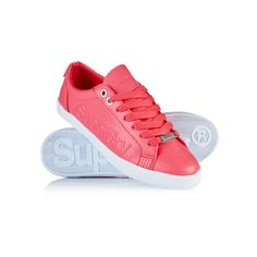 Superdry Super Sleek Logo Low Top Trainers featuring polyvore, women's fashion, shoes, sneakers, pink, pink lace shoes, superdry, lacy shoes, lock shoes and lace sneakers