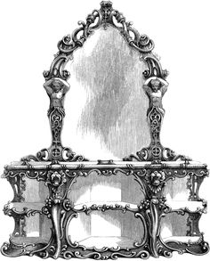 Console Mirror and Table | ClipArt ETCThis console table and mirror has a scroll design all around the framework. The table has shelving compartments and is made out of English walnut wood.