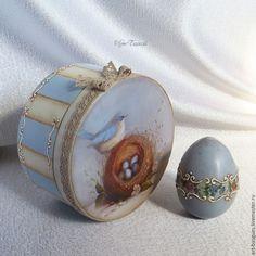 Купить Шкатулочка Гнёздышко - шкатулка для украшений, подарок женщине, шкатулка декупаж, круглая шкатулка, для украшений