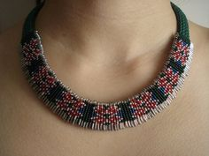 Green Necklace-Green and Red Beadwork Necklace-Safety Pin Necklace-Cross-Stitch Necklace -Patterned Necklace-Christmas Colorful Necklace