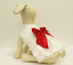 "White Red Dog Dress, Dog Birthday gift, Pet wedding accessory, dog clothing, Chic, classy, Red and white dress • Color of Dress: White • Bow color: Red • Bow Size: 5"" Sizes • X Small Neck: (7"" - 10"")"