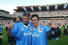 Joost van der Westhuizen and Derick Hougaard celebrate their 2002 Currie Cup final win. Rugby, Feb 2017, The Man, Polo Ralph Lauren, Van, Celebrities, Sports, People, Mens Tops