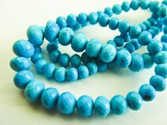 Turquoise, Rondelles, Micro Faceted, AAA, 3.5-6mm, 16 inches. $83.50, via Etsy.