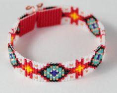 Edgewood Twist perle Loom Bracelet bohémien Boho par PuebloAndCo