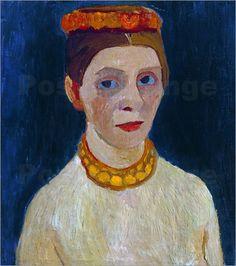 Paula Modersohn-Becker Selbstbildnis mit rotem Blütenkranz und Kette, 1907