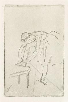 Artwork by Edgar Degas, Danseuse Mettant Son Chausson, Made of etching Edgar Degas, Degas Drawings, Ballerina Art, Artwork, Art Gallery, Fine Art, Art Prints, Circa, Painting