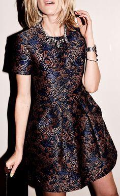 Blue And Brown  Metallic Print Little Dress
