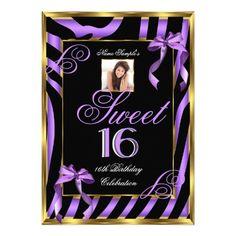 Sweet 16 Purple Zebra Gold Photo 16th Birthday Card