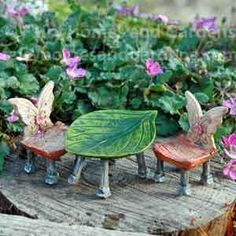 Fairy Homes and Gardens - Miniature Wings and Wands Table and Chairs, $14.99 (https://www.fairyhomesandgardens.com/miniature-wings-and-wands-table-and-chairs/)