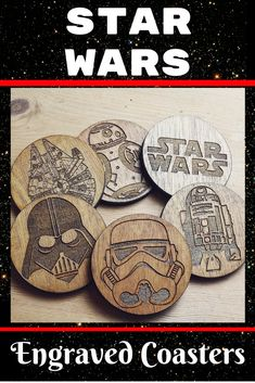Engraved Star Wars Coasters. Perfect gift for any Star Wars lover. Set of 6.  | Star Wars | Home Decor | housewarming | Dad | Son | Boys | Wood | gift idea | afflink