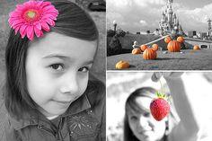 photos noir et blanc avec une touche de couleur