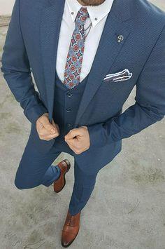 Blue Three piece suit for men Mens Fashion Suits, Mens Suits, Womens Fashion, Latest Fashion, Fashion Beauty, Three Piece Suit For Man, Suit Combinations, Only Shirt, Slim Suit