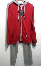 Meeting  Red Gray Stripe Mens Sweat Suit Hood Size 2XL 100% Cotton NEW