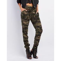 Charlotte Russe Camo Print Drawstring Jogger Pants ($27) ❤ liked on Polyvore featuring pants, green combo, skinny pants, camouflage pants, lightweight camo pants, charlotte russe and military green pants