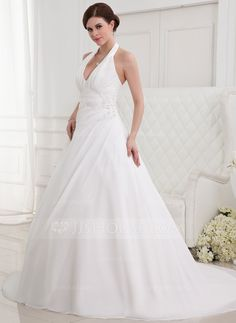 A-Line/Princess Halter Chapel Train Chiffon Wedding Dress With Ruffle Beading Appliques Lace (002012787) - JJsHouse