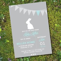 Bunny Baby Shower Invitation for a Boy or Girl - Gray Bunny Baby Shower - Instant Download and Editable File - Personalize with Adobe Reader