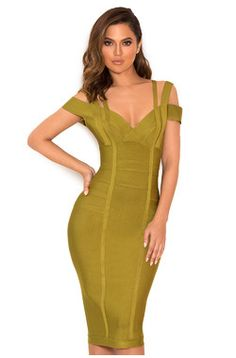 7107b680fe53 Clothing : Bandage Dresses : 'Mimi' Olive Green Off Shoulder Lurex Bandage  Dress