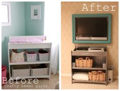 For future changing table repurposed:   Remodelaholic   Play Room Updated To A Colorful Family Room