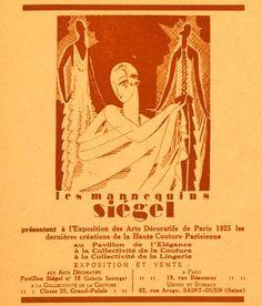 1925 Ad Siegel Stockman Mannequin Paris Exposition Art Deco Haute Couture France | eBay