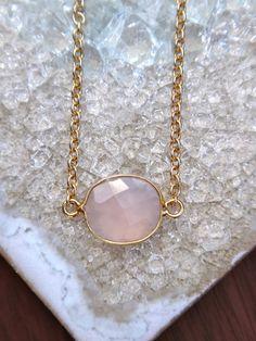 Pink Calcedony Bezel Set Necklace Gold Filled by ByGennaLou